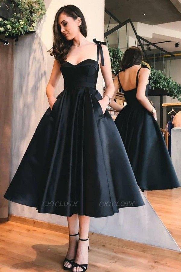 ZY412 Cocktail Dress Black Knee Length Evening Dresses Short