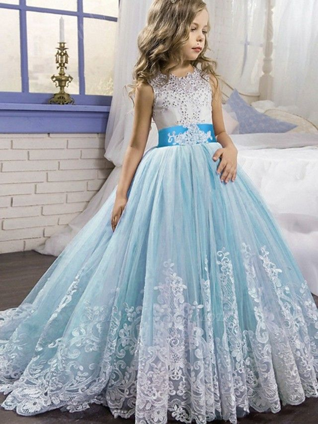 Princess / Ball Gown Court Train Wedding / Party Flower Girl Dresses - Tulle Sleeveless Jewel Neck With Bow(S) / Beading / Appliques