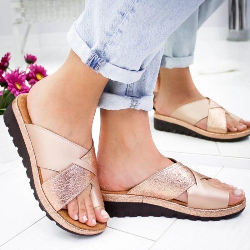FFT445 Women Fashion Retro Colorblock Platform Slippers