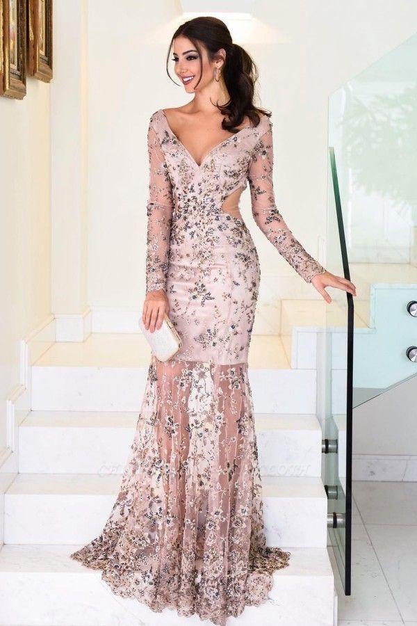 ZY396 Elegant Evening Dresses Long Pink Graduation Dresses With Lace