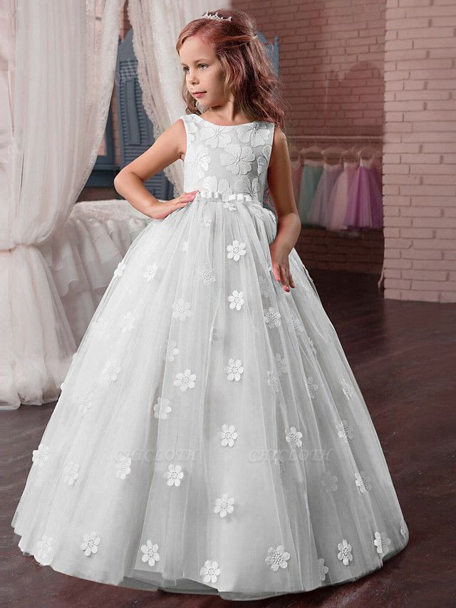 Princess Long Length Wedding / First Communion / Pageant Flower Girl Dresses - Tulle / Mikado Sleeveless Jewel Neck With Appliques