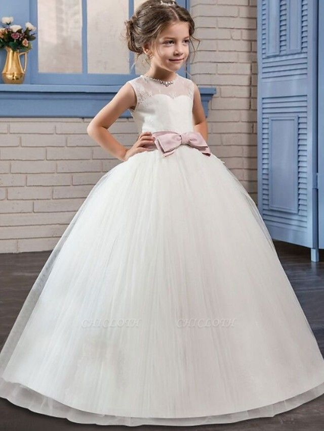 Princess / Ball Gown Floor Length Wedding / Party Flower Girl Dresses - Tulle Sleeveless Jewel Neck With Sash / Ribbon / Bow(S) / Embroidery