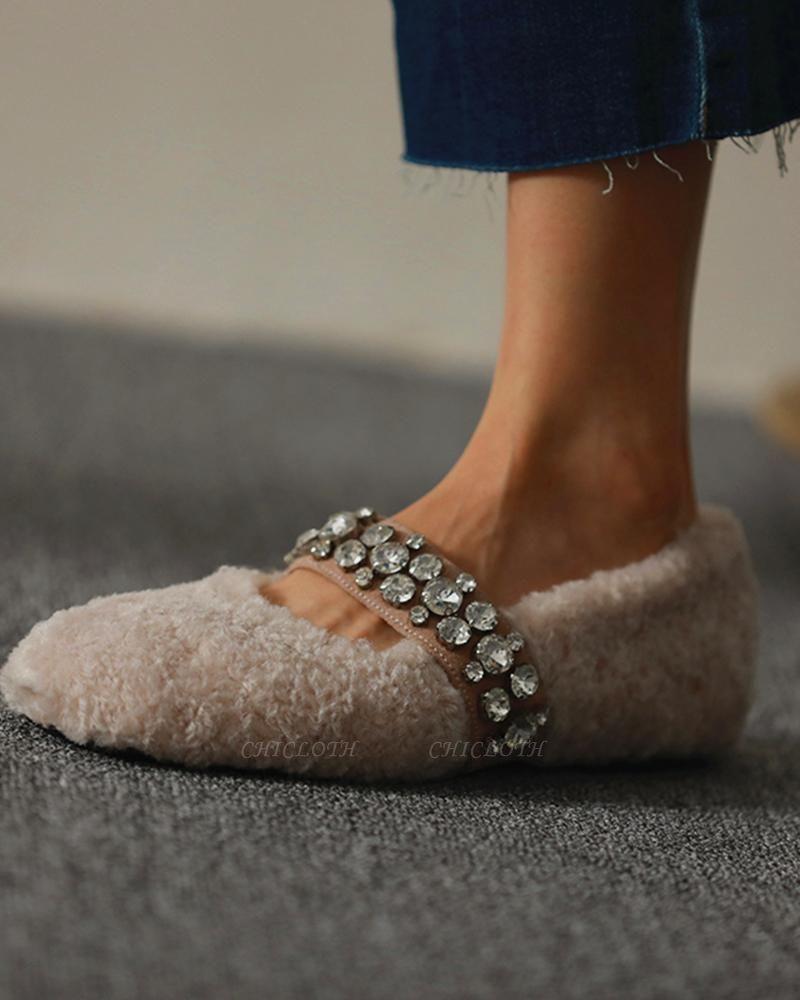 FFT224 Women's Solid Fluffy Crystal Bandage Upper Loafer