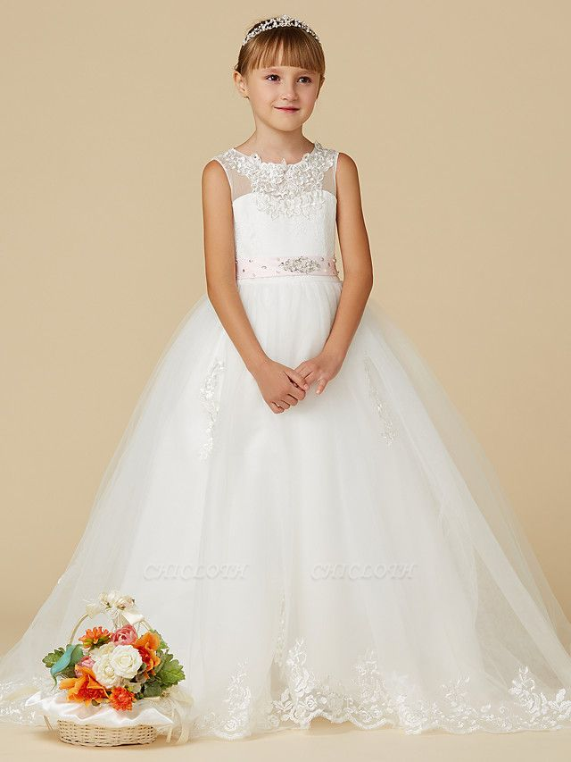 Princess Sweep / Brush Train Wedding / First Communion Flower Girl Dresses - Lace / Tulle Sleeveless Jewel Neck With Belt / Beading / Appliques