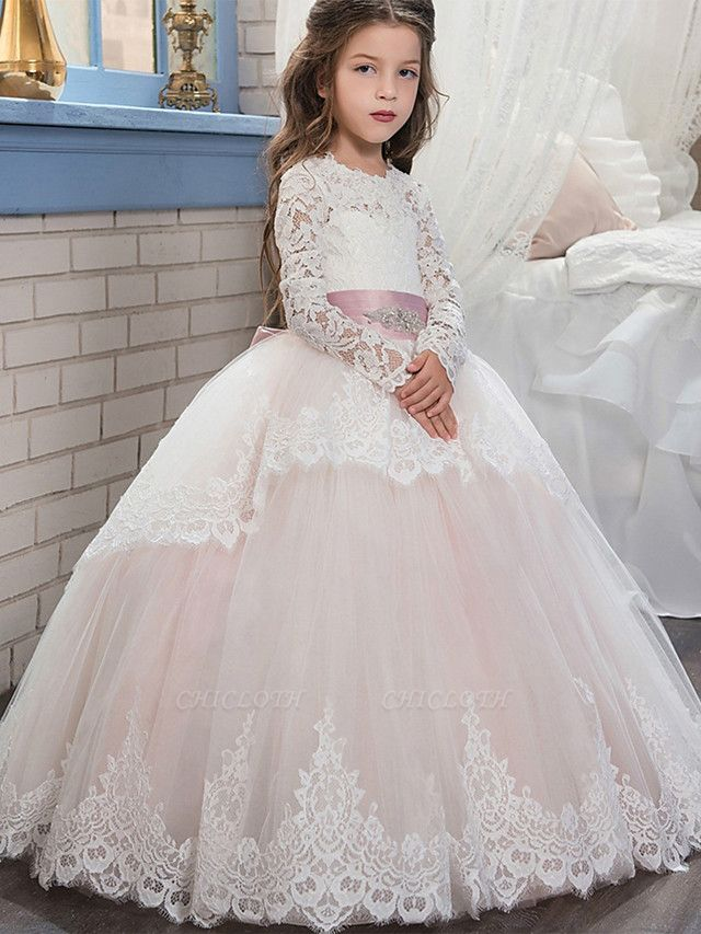 Ball Gown Sweep / Brush Train Wedding / Birthday / Pageant Flower Girl Dresses - Lace / Tulle / Cotton Long Sleeve Jewel Neck With Lace / Belt / Embroidery