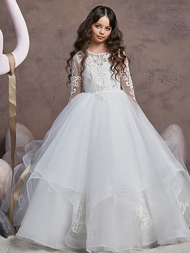 Ball Gown Court Train Wedding / Party Flower Girl Dresses - Poly Long Sleeve Jewel Neck With Lace / Tier / Appliques