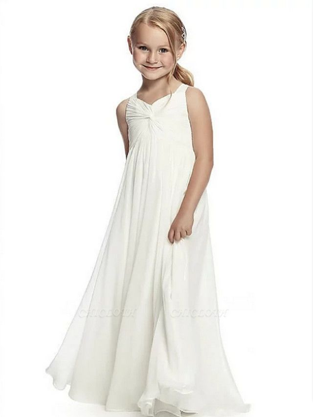 A-Line Round Neck Floor Length Chiffon Junior Bridesmaid Dress With Side Draping / First Communion