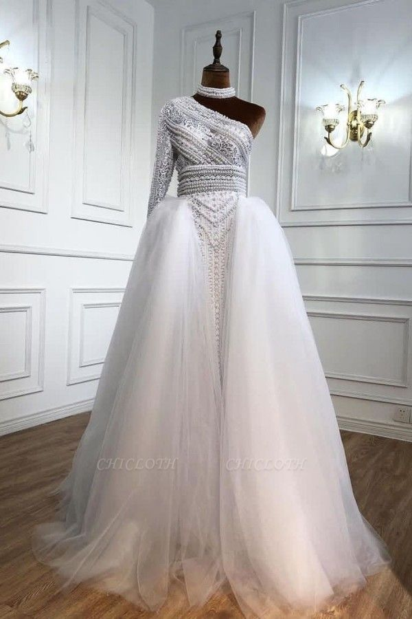 ZY435 Elegant Evening Dresses Long White Prom Dresses With Sleeves