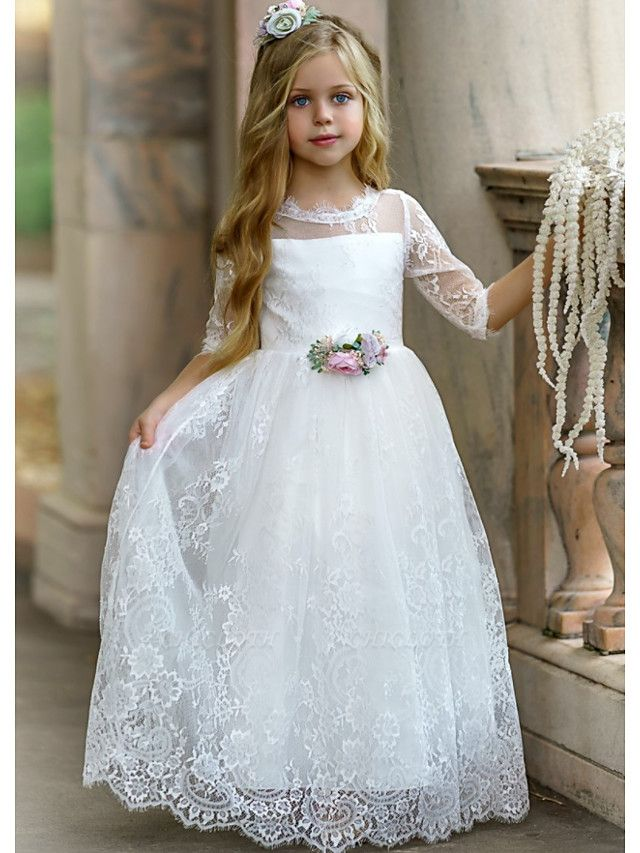 Princess / A-Line Floor Length Wedding / Party Flower Girl Dresses - Lace / Tulle Long Sleeve Jewel Neck With Tier / Flower / Solid