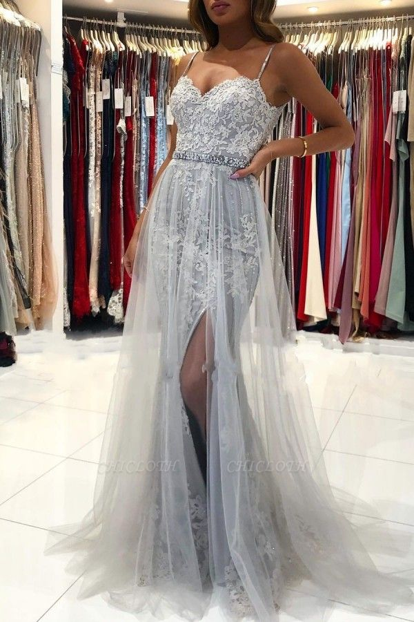 ZY368 Silver Evening Dresses Long Cheap Prom Dresses With Lace