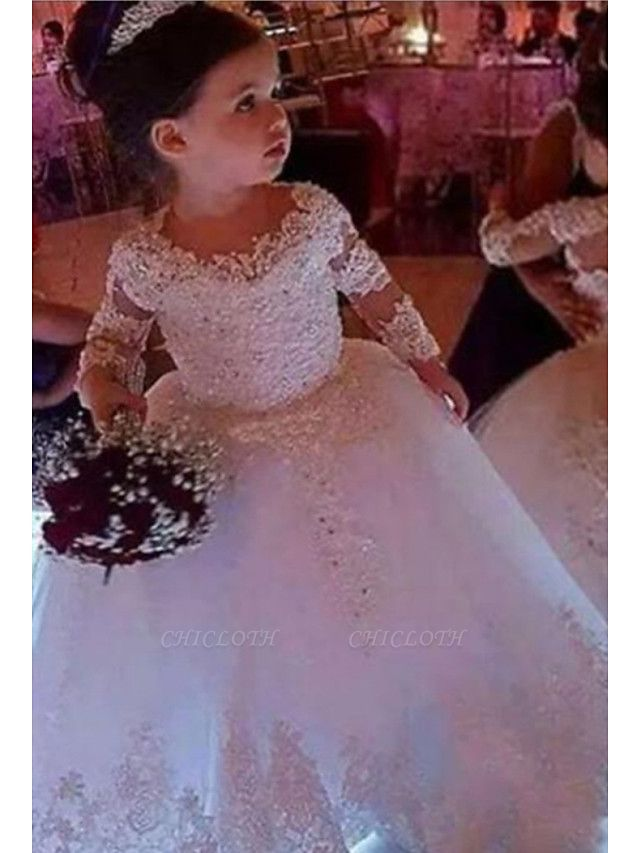 Ball Gown Floor Length Wedding Flower Girl Dresses - Lace Long Sleeve Jewel Neck With Appliques / Solid