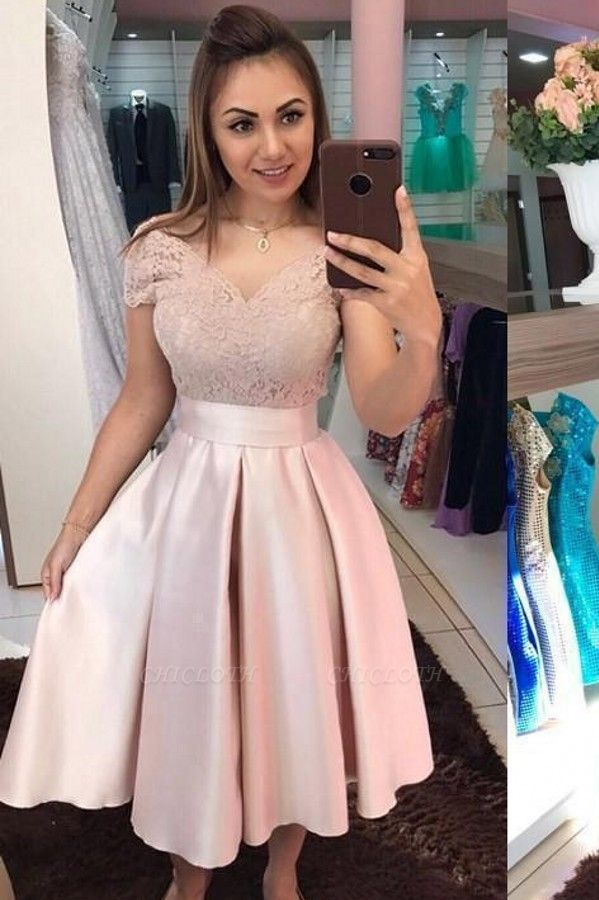 ZY430 Cocktail Dresses Short Prom Dresses Lace Pink