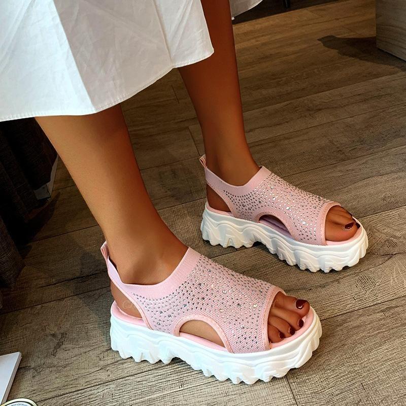 FFT444 Women Casual Flyknit Fabric Rhinestones Slip On Creepers Platform Sandals