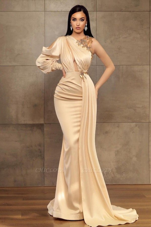 ZY456 Simple Evening Dress Long Prom Dresses With Sleeves