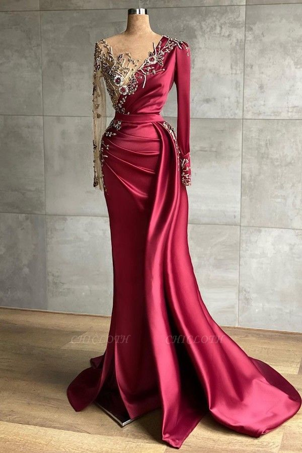 ZY468 Red Evening Dress Long Prom Dresses With Sleeves