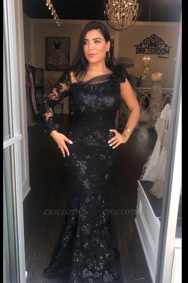 ZY458 Elegant Evening Dress Long Black Prom Dress With Sleeves