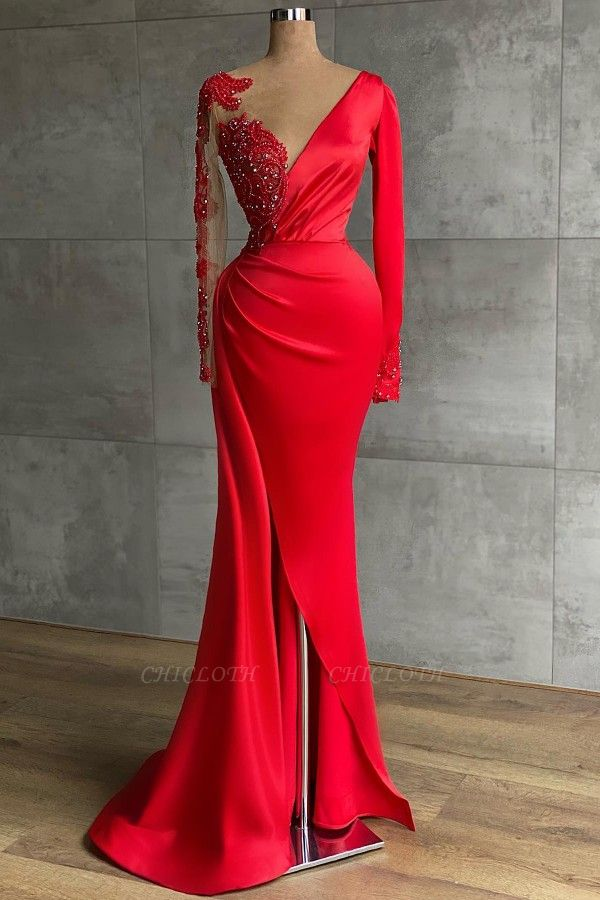 ZY471 Red Evening Dress Long Prom Dresses With Sleeves