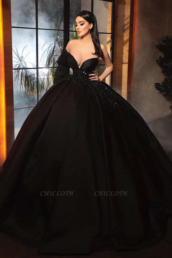 ZY462 Fashion Evening Dresses Long Black Prom Dresses With Sleeves