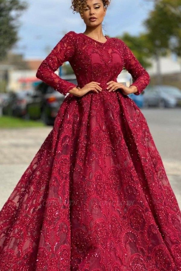 ZY473 Red Evening Dresses With Lace Prom Dresses Long Sleeves