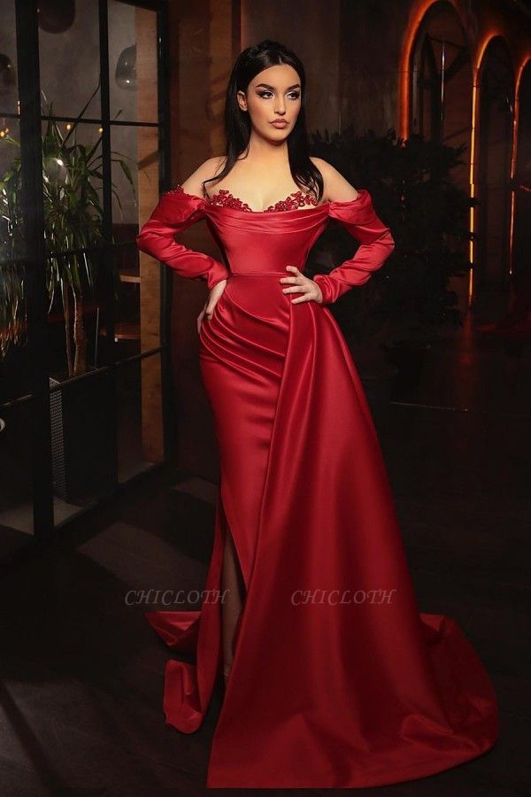 ZY455 Prom Dresses With Sleeves Red Evening Dress Long