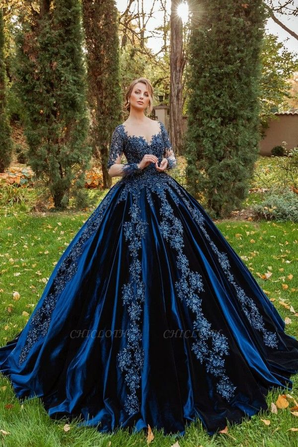 ZY467 King Blue Velvet Evening Dresses With Sleeves Prom Dresses Long Cheap