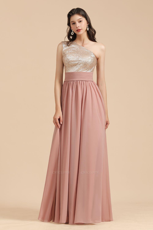 BM2010 One Shoulder Sequins A-line Pink Bridesmaid Dress