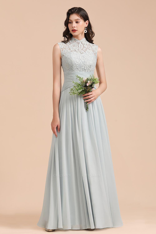 BM2001 High Neck Lace Sleeveless A-line Bridesmaid Dress