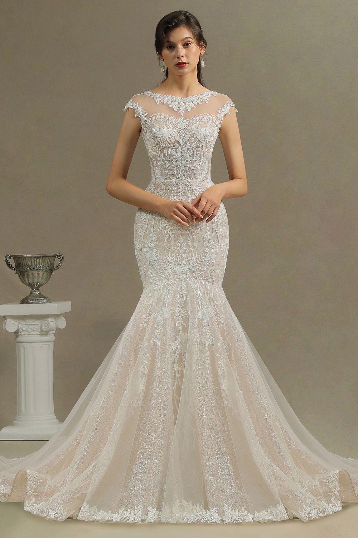 CPH234 Mermaid Lace Cap Sleeve Sheer Tulle Neckline Wedding Dress