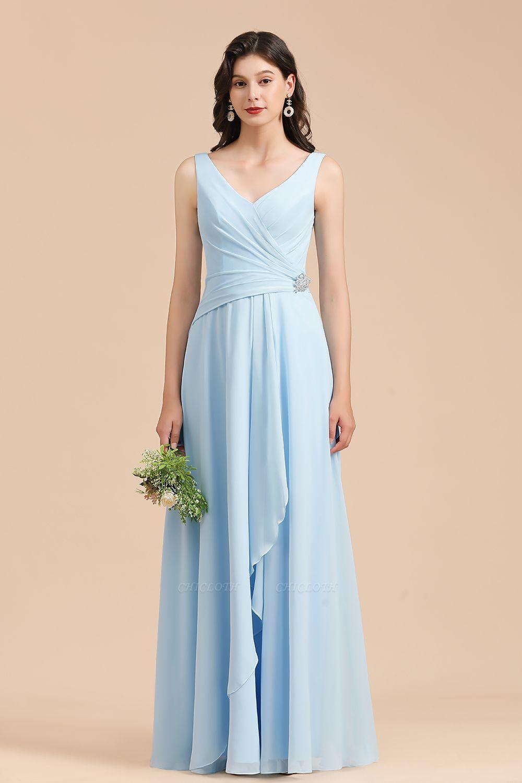 BM2002 Sky Blue Ruffles Straps Beads Bridesmaid Dress