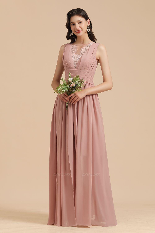 BM2006 Elegant A-line Straps Lace Tulle Long Bridesmaid Dress