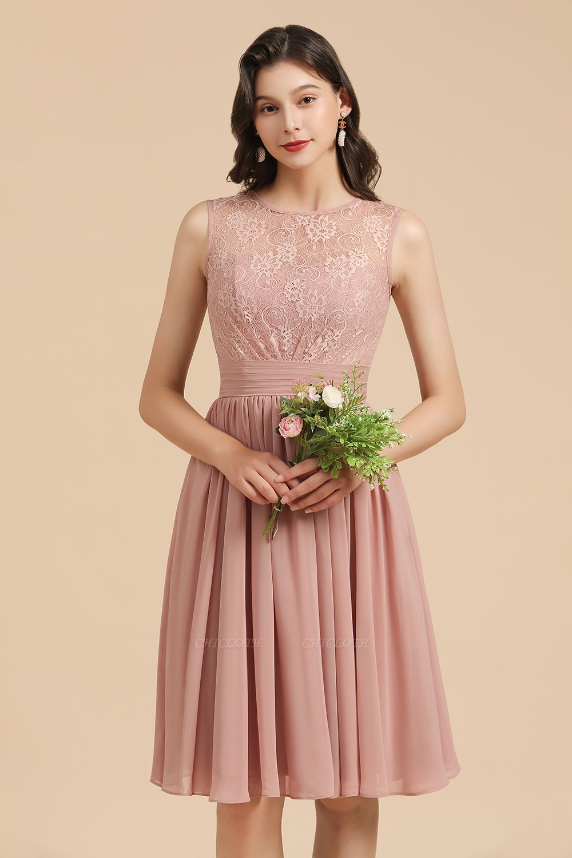 BM2008 Simple Lace Sleeveless Knee Length Short Bridesmaid Dress