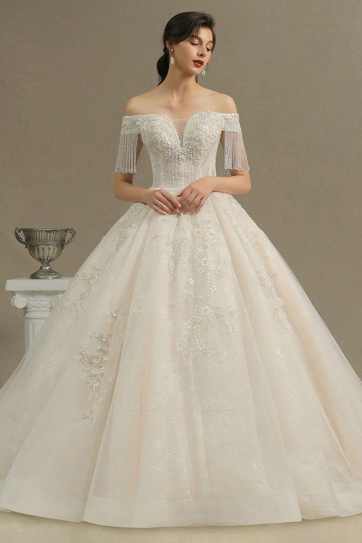 CPH224 Off-the-shoulder Appliques Beads Tassel Ball Gown Wedding Dress
