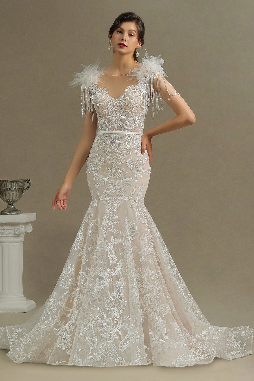CPH233 Gergous Mermaid Appliques Further Tassel Open Back Wedding Dress