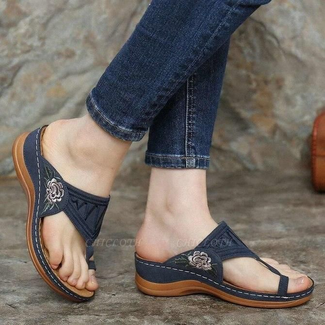SD2133 Embroidery Orthopedic Comfy Flip Flop Sandals
