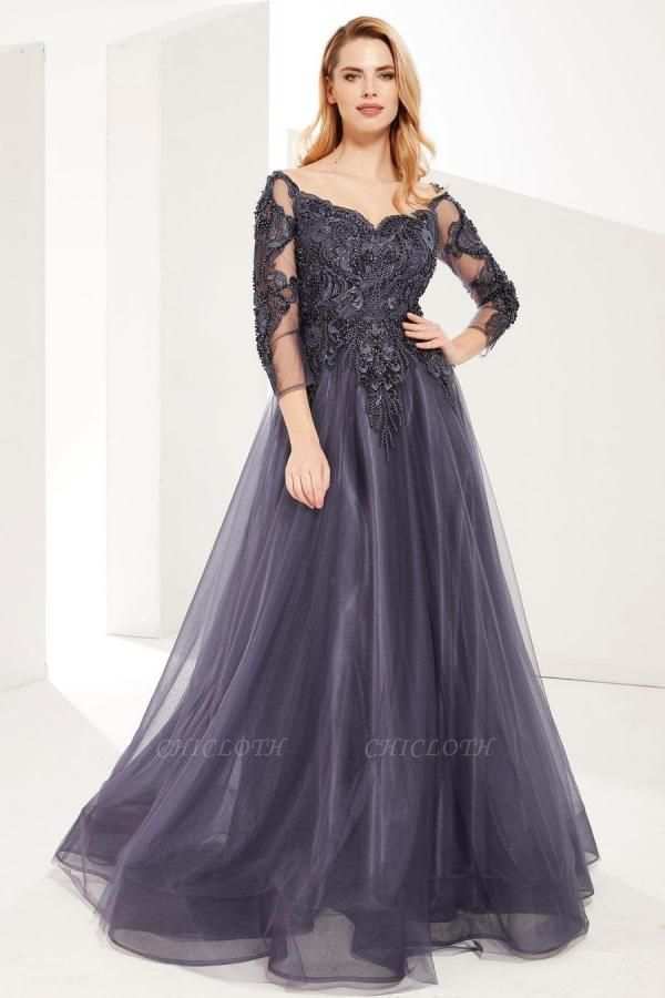 ZY626 Evening Dresses Long Gray Prom Dresses With Sleeves
