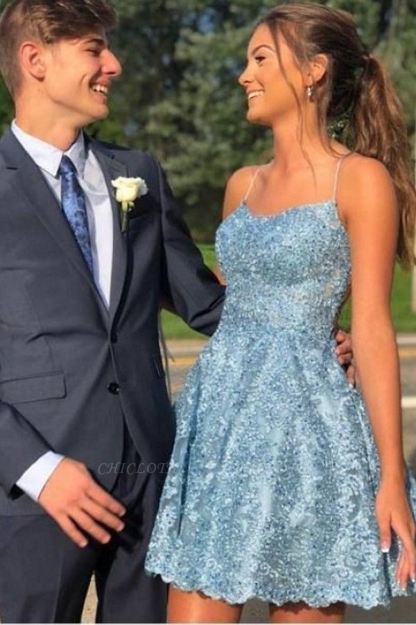 ZY625 Cocktail Dresses Party Dresses Blue Short Lace Prom Dresses
