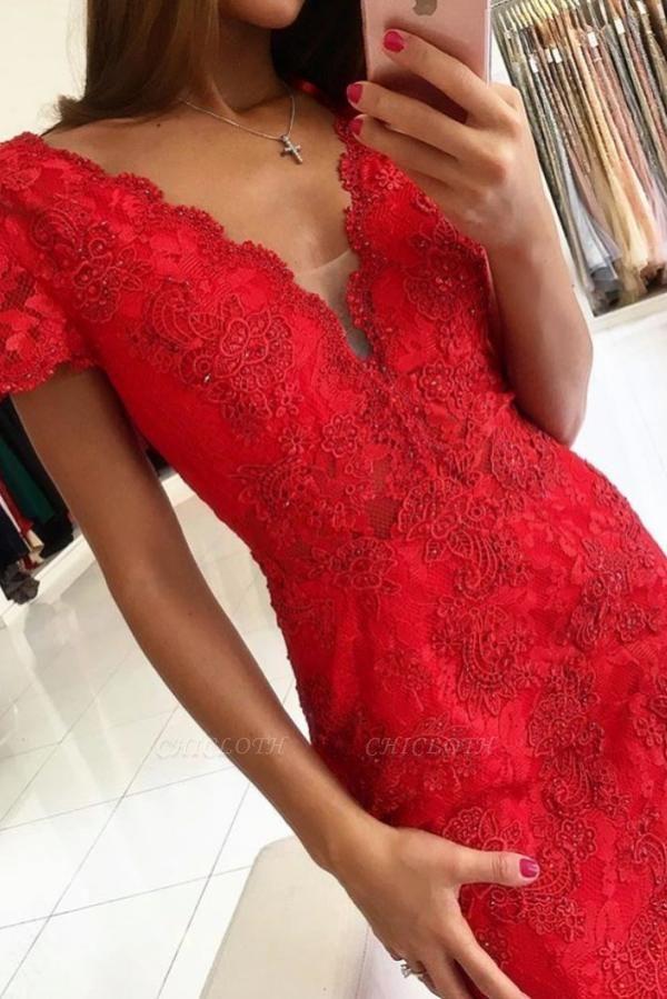 ZY650 Red Evening Dress Long V Neck Lace Prom Dresses