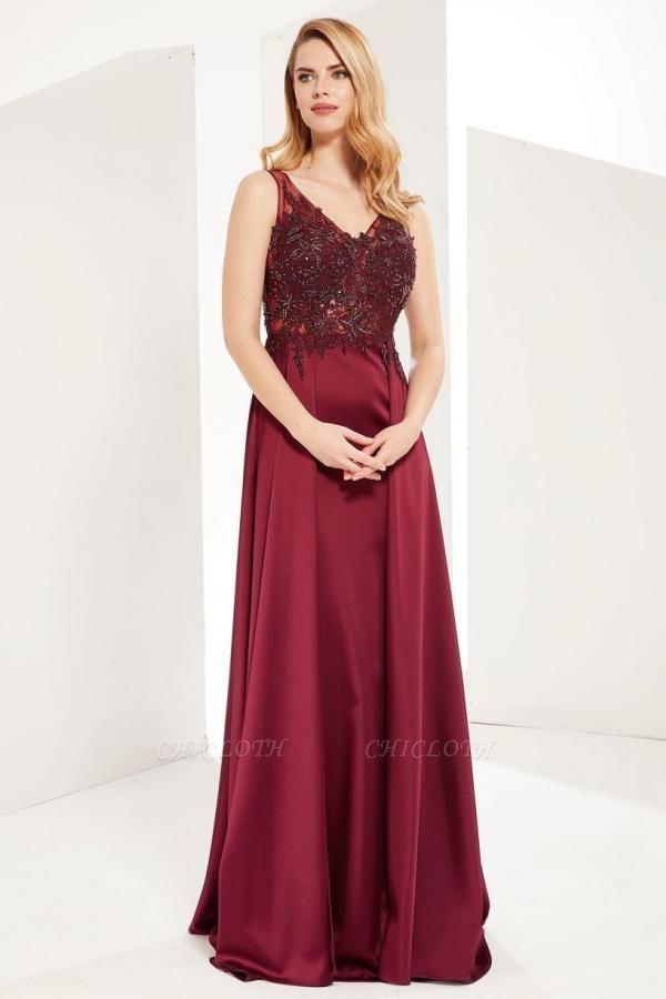 ZY641 Evening Dress Long V Neckline Wine Red Prom Dresses Cheap
