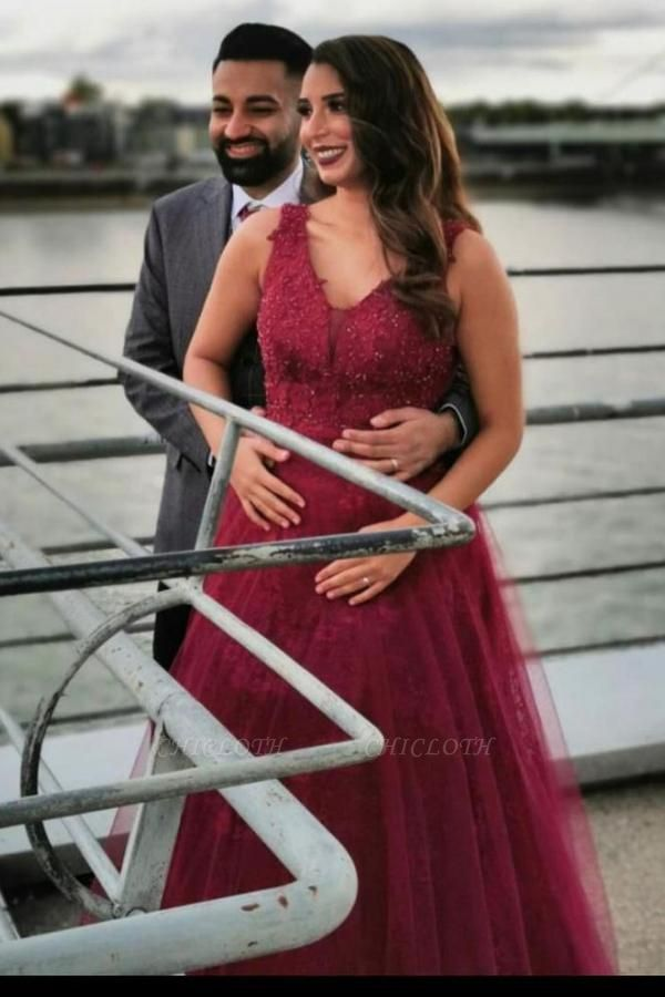ZY627 Wine Red Evening Dresses With Lace Prom Dresses Long Cheap