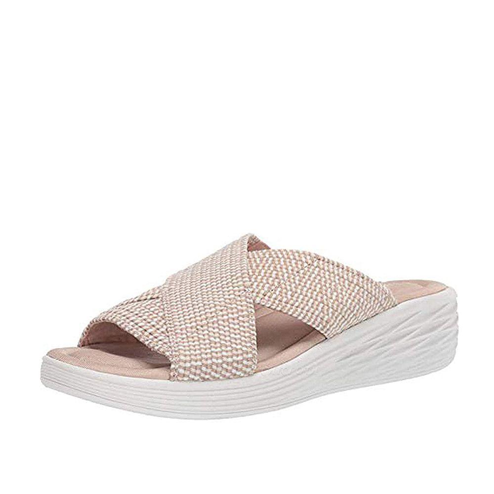 Women Comfort Weave Stretch Cross Sandals Summer Non-Slip Wedge Platform Beach Sandals