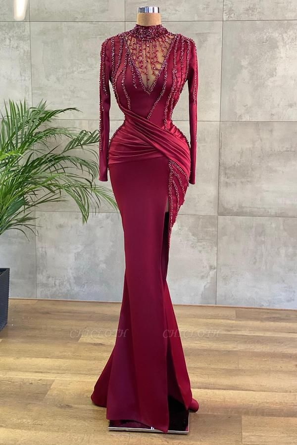ZY654 Luxury Evening Dresses Long Wine Red Prom Dresses With Sleeves