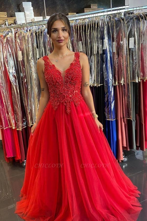 ZY620 Evening Dresses Long V Neckline Red Prom Dresses Cheap