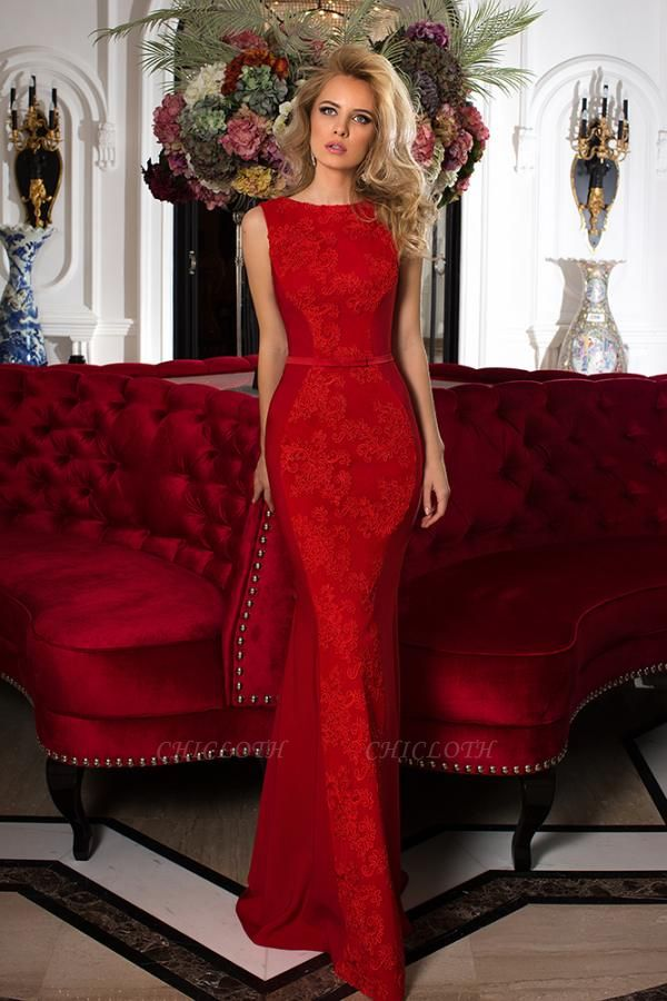 ZY618 Designer Evening Dresses Long Red Prom Dresses With Lace
