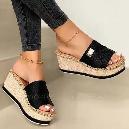 SD2132 Platform Wedges Slippers Slides Women Sandals