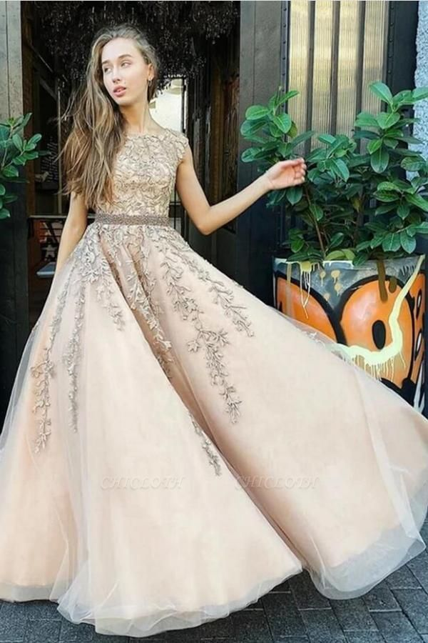 Gold Prom Dresses With Lace | Vintage Long Evening Gowns