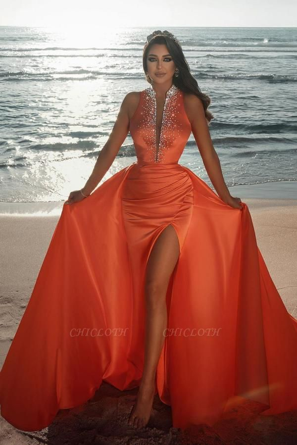Orange Sparkly Long Prom Dresses | Sexy Evening Gowns