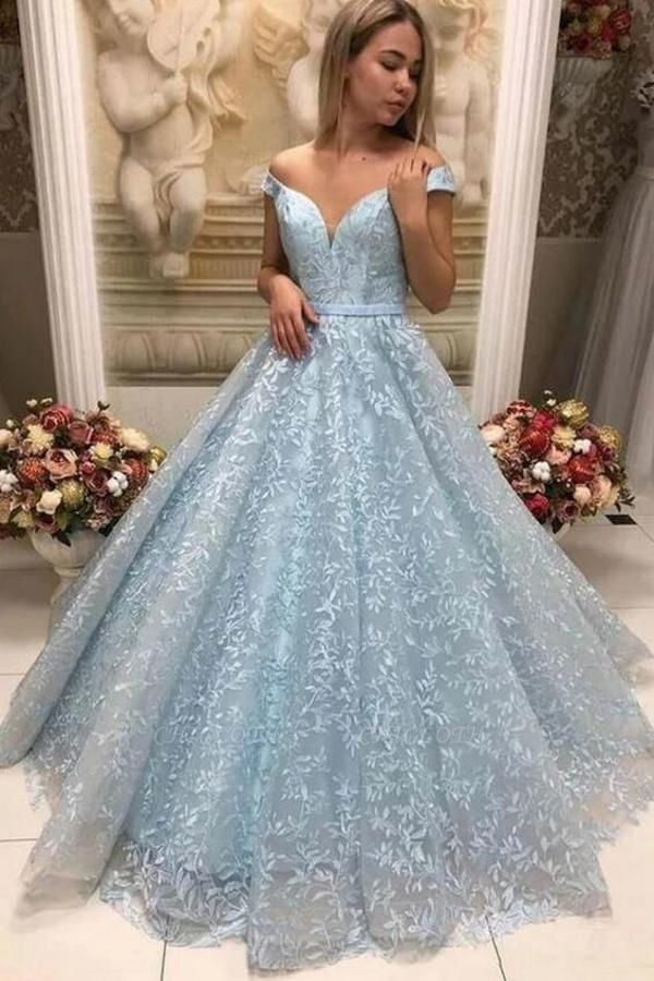 Cheap Prom Dresses Long Blue | Lace Evening Gowns