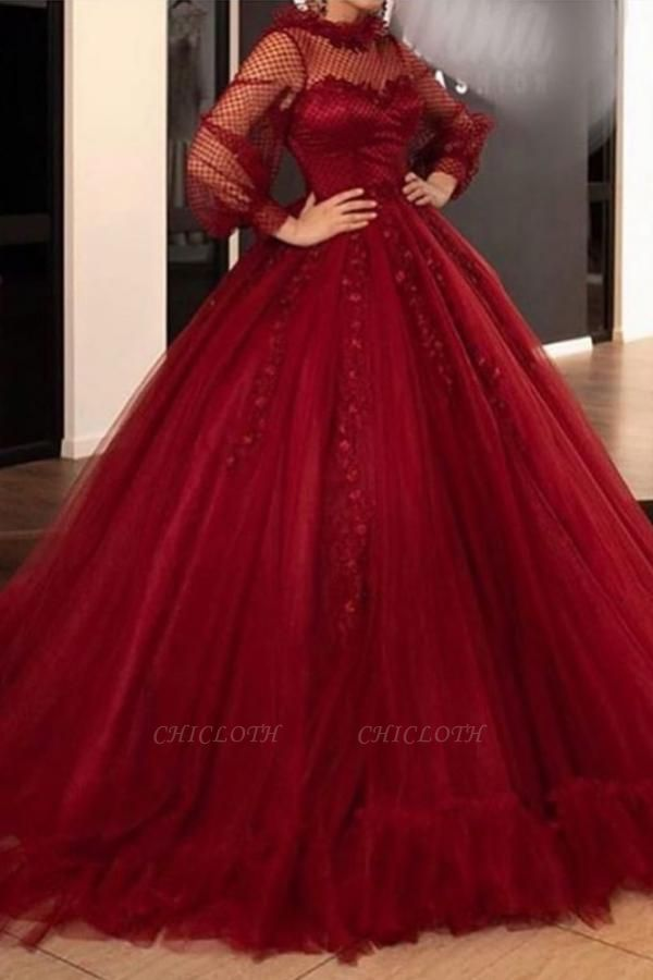 Elegant Prom Dresses With Long Sleeve | Red Ball Gowns Evening Gown