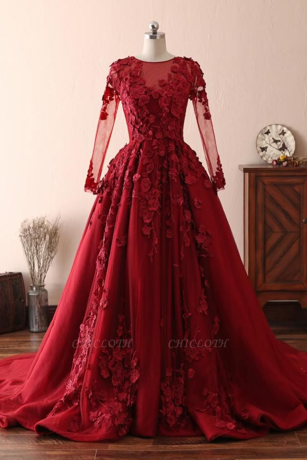 Chape Red Long Sleeve Prom Dresses With Lace