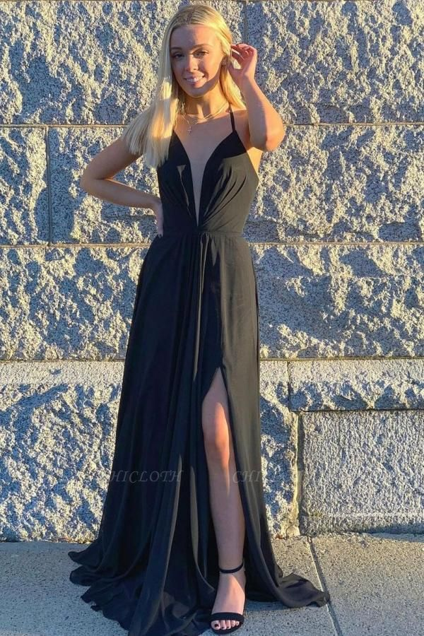 Black Prom Dresses Long Chiffon   Simple Evening Gowns